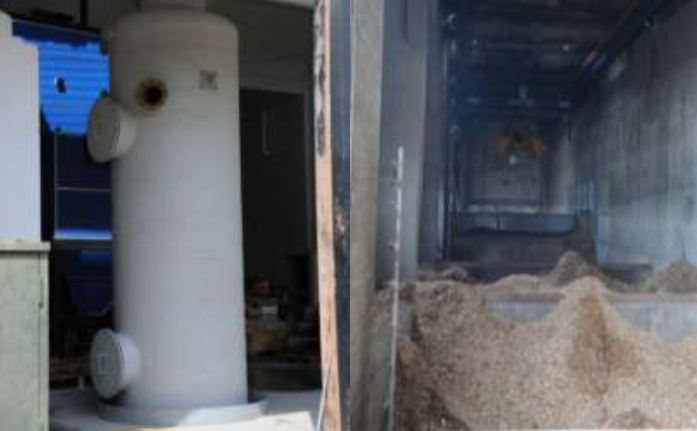 Picture 7 – Smoke washer  (left) and storage room  (right)