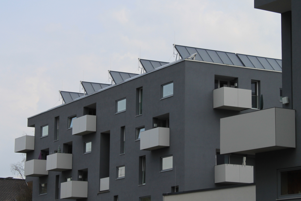 Picture 4 – Solar  thermal collectors on  the roof of one  building