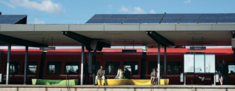 Picture 4 - LED lighting of train station platform powered by photovoltaics   on the roofs