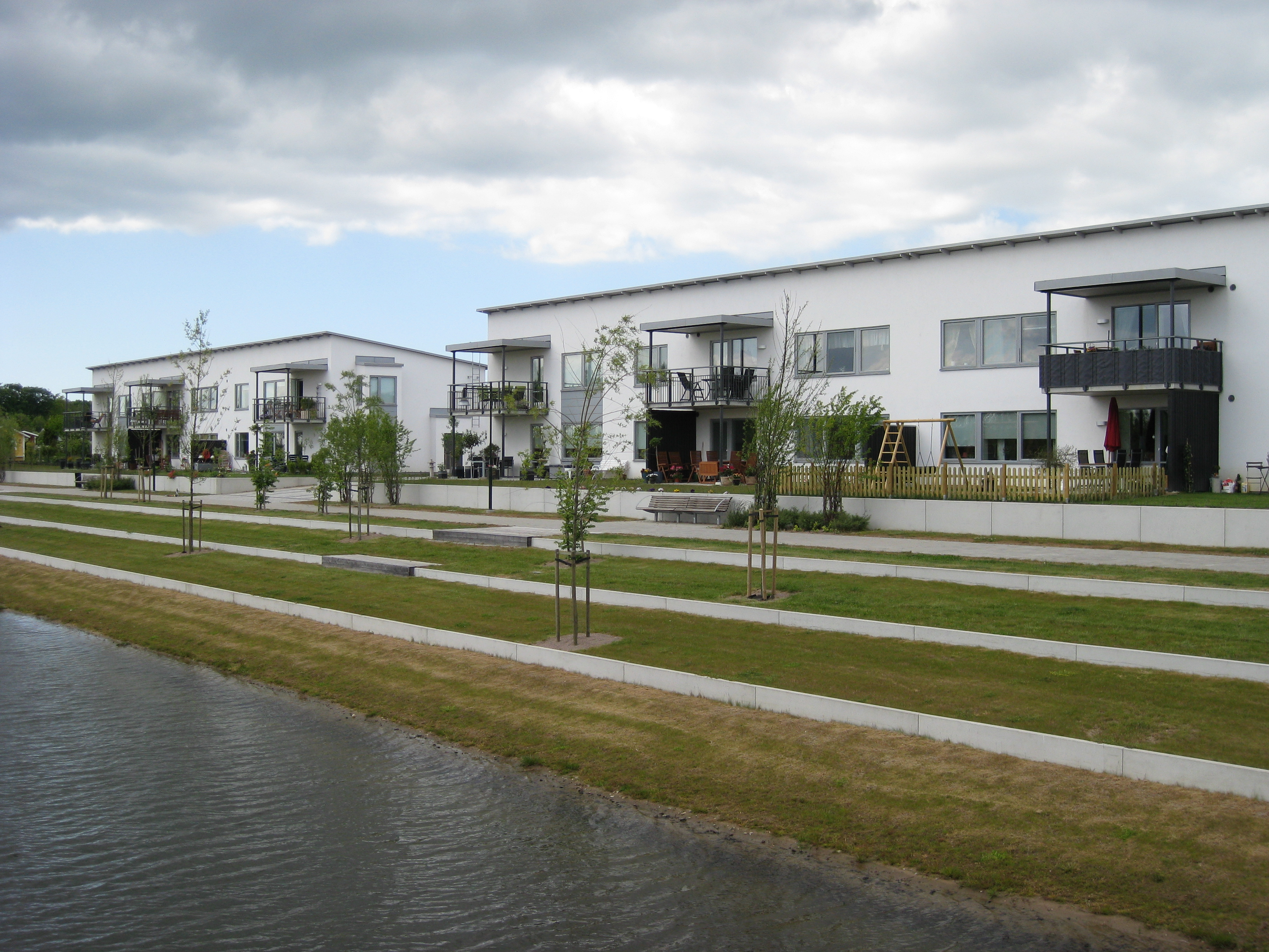 New low cost and low energy eco-buildings in Helsingborg, with highly insulated wooden elements with thin plaster coating