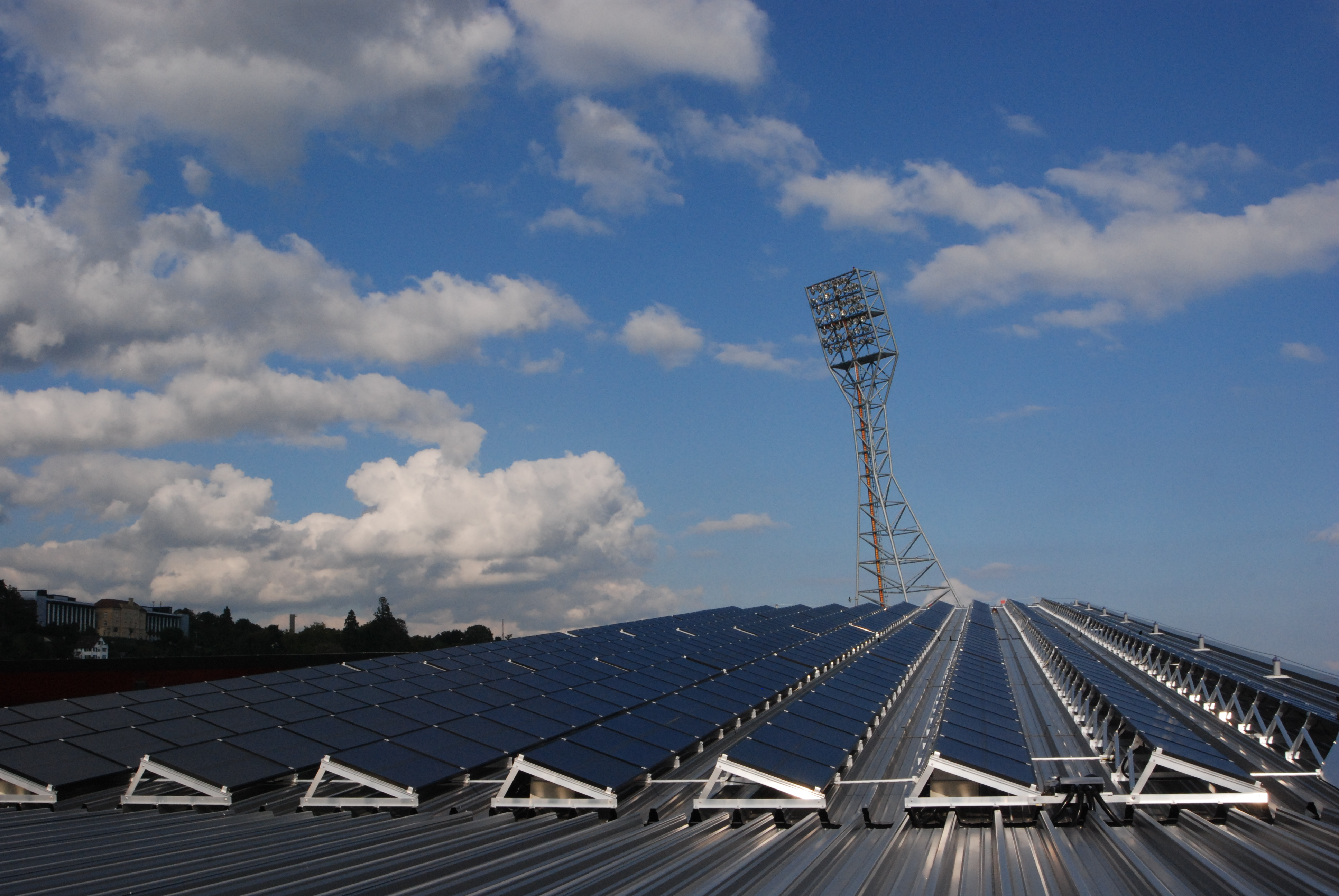 Picture 3 - The rows  of PV panels on the  roof of the stadium