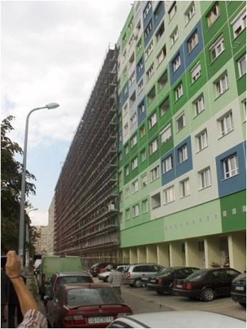 Typical housing block of Óbuda, Budapest, part of the CONCERTO project STACCATO.