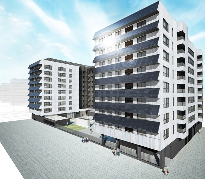 """Picture 1 - 176 social   dwellings at """"Promotion   A-32"""" with photovoltaic   panels as sunshields"""