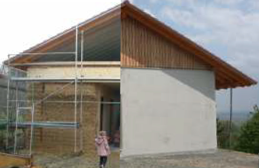 Picture 2 – Straw Bale  House without and  with outside plaster