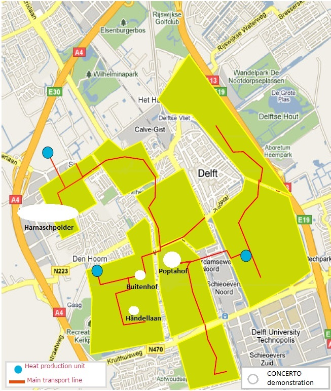 Low temperature  district heating network   and demonstration areas   in Delft
