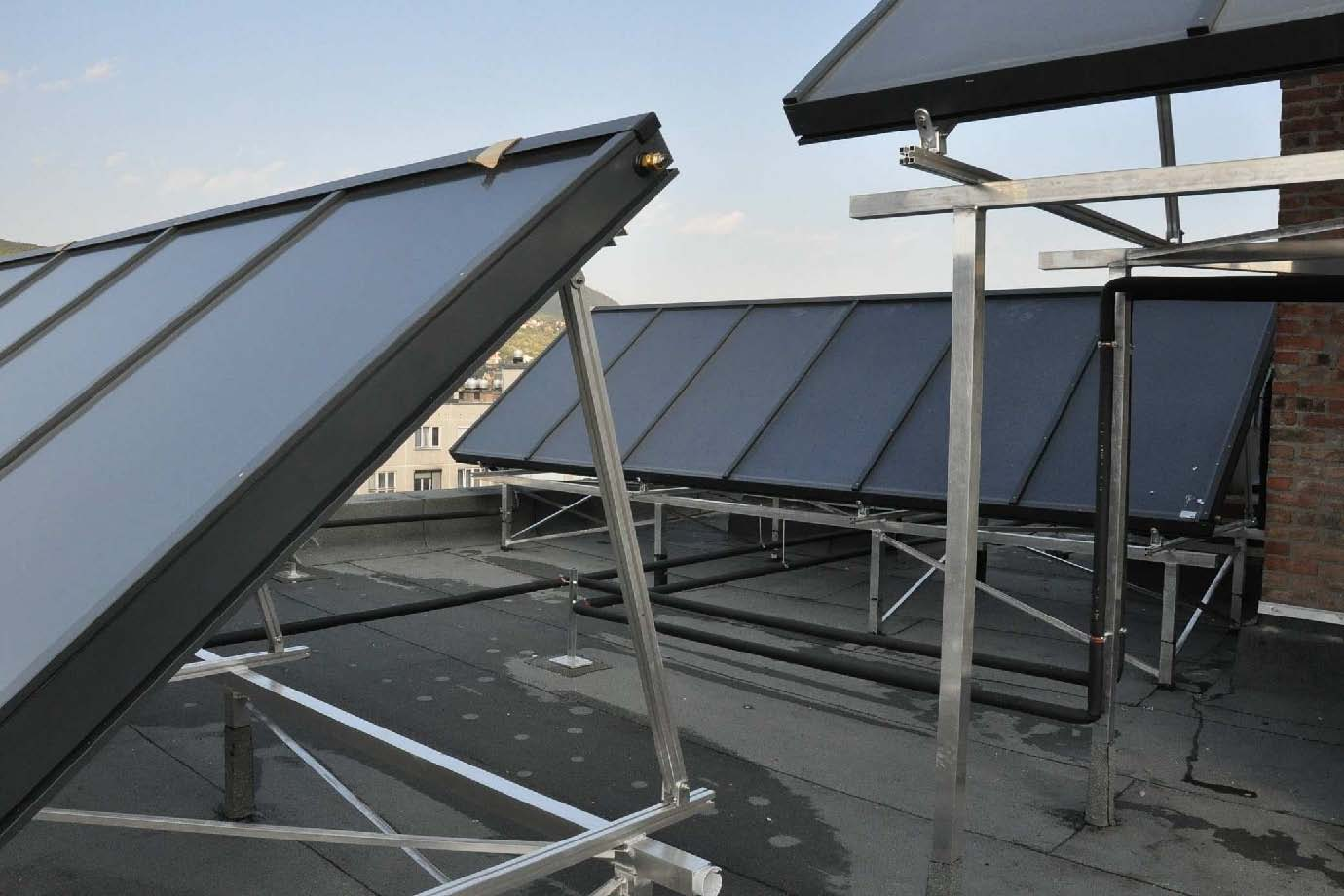 Picture 2 – The solar   thermal collectors on   the roof
