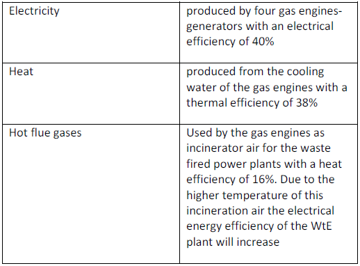 Table 1 – Polygeneration outputs of the biogas plant
