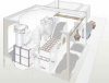 Picture 5 - Schematic view  of the plant: storage and  furnace in front, back  building with turbine and  peak load gas boilers